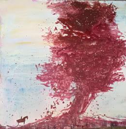 Xianwei Zhu, Rückkehr zu den Wurzeln II, 2018, Acryl auf Leinwand, 119 x 119 cm. Bildnachweis Xianwei Zhu