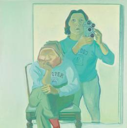 Maria Lassnig, Doppelselbstporträt mit Kamera, 1974, Artothek des Bundes, Dauerleihgabe im Belvedere, Wien © Maria Lassnig Stiftung/ Bildrecht, Wien 2021; Foto: Johannes Stoll