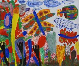 """Peter Pongratz, """"Dalmatinische Gärten"""", 2017, Acryl auf Leinwand, 100 x 120 cm © Galerie Welz"""