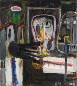 Helmut Sturm, Hommage à Heimrad Prem (Begegnung), 1977/78, Öl auf Leinwand, 95 x 85 cm, Sammlung Herbert Kochta, München © VG Bild-Kunst, Bonn 2021, Foto: Andreas Pauly