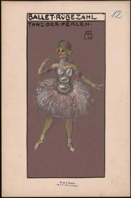 """Figurine """"Tanz der Perlen"""" aus dem Ballett Rübezahl nach einem Libretto und in der Ausstattung von Alfred Roller (Entwurf 1906), Choreografie: Carl Godlweski, Musik: Leo Delibes u. a., Premiere 1907 Theatermuseum © KHM-Museumsverband"""