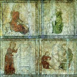 Haus zur Kunkel, Konstanz. Der einzigartige Bilderzyklus entstand im frühen 14. Jahrhundert. Er zeigt die vielfältigen Arbeitsschritte der Textilproduktion (Ausschnitt) © HVM