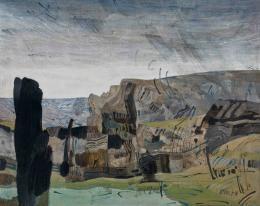 Landschaft mit Regenschauer, 1974, Acryl, Öl auf Platte, Salzburg Museum © Hanns und Werner Otte, Salzburg