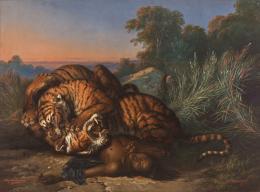 Saleh Ben Jaggia Raden, Kämpfende Tiger über der Leiche eines Javaners, 1870 © Foto: Johannes Stoll / Belvedere, Wien