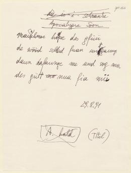 """Ernst Jandl: """"Apocalypse Soon"""", 29. 8. 1991 – © Österreichische Nationalbibliothek"""
