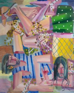 Ákos Ezer, Falling over III, 2019 Öl auf Leinwand, 200 x 166 cm