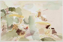 Landschaft in Canale bei Tenno, 1989, Federzeichnung, Aquarell auf Büttenpapier, Salzburg Museum © Hanns und Werner Otte, Salzburg