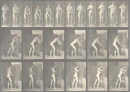 "Eadweard Muybridge (1830–1904), ""Animal Locomotion"", Männer (Akt), Platte 395, An einer Kurbel drehend; aus: ""Animal Locomotion, an Electro-Photographic Investigation of Consecutive Phases of Animal Movements"", 1872-1885 Collotypie, 22,5 x 31,5 cm, Kunstpalast, Düsseldorf"