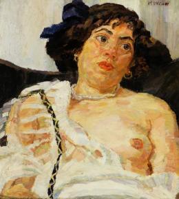 Paula Wimmer: Weiblicher Halbakt, um 1920, Öl auf Leinwand