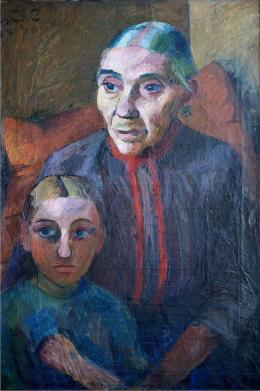Grete Csaki-Copony: Grossmutter und Enkelin, 1927, Öl auf Leinwand