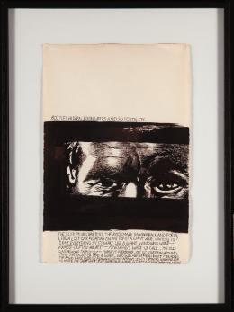 Raymond Pettibon (*1957): Ohne Titel (Bottles hidden behind books ... ) , 1995. Mischtechnik auf Papier, 47 × 31 cm; Kunstmuseum St. Gallen, Leihgabe aus Privatbesitz. Foto: Sebastian Stadler