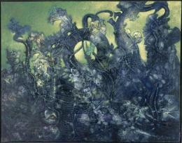 Max Ernst: Der letzte Wald, 1960. Öl auf Leinwand, 114 x 145,5 cm; Musée d'art moderne et contemporain de Saint-Étienne Métropole (Saint-Étienne), Centre Pompidou, Musée d'Art Moderne de Saint. © VG Bild-Kunst, Bonn 2019