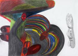 Johann Hauser, Nackte Frau mit Hut, 1986, Bleistift, Farbstifte (c) Privatstiftung - Künstler aus Gugging