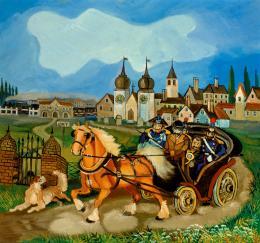 Antonio Ligabue Diligenza con cavalli (Pferdepostkutsche) Undatiert (1959–1960) Öl auf Holzfaserplatte 75 x 83cm Courtesy Galleria Centro Steccata, Parma ©