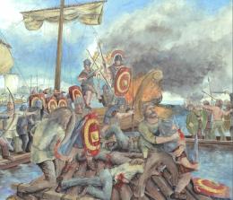 Die Seeschlacht zwischen Römern und Vindelikern (Kelten) 15 v. Chr. auf dem Bodensee – visualisiert von Roland Gäfgen. (Bild: Bilder PD)