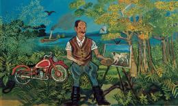Antonio Ligabue Autoritratto con moto, cavalletto e paesaggio (Selbstbildnis mit Motorrad und Staffelei in der Landschaft) Undatiert (1953–1954) Öl auf Holzfaserplatte 63,9 x 104cm Gustalla (Reggio Emilia), Privatsammlung ©