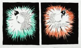 Raymond Pettibon (*1957): The Beams of the Searchlight , 1995. Tusche und Aquarell auf Papier, 33 × 56 cm; Sammlung Ringier, Schweiz. Foto: Paul Seewer