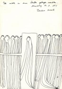 Oswald Tschirtner, Ich möchte in einer Sänfte getragen werden, 1972 (c) Privatstiftung Künstler aus Gugging