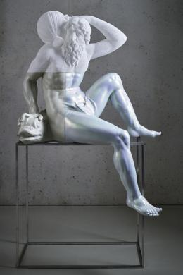 Oliver Laric, Oceanus, 2020, SLA Harz, SLS-Nylon, Acrylfarbe, Aluminium TLM, Moderne Sammlungen © Johannes Plattner