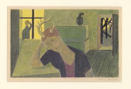 Franz Gertsch, Hirschjungfrau, um 1951, Farbstift, teilweise geschabt, auf Velin 28,7 x 32,5 cm © Franz Gertsch