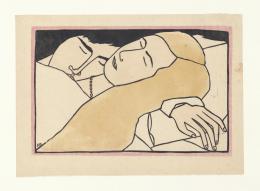 Franz Gertsch, Daphnis und Chloe, 1948, Farblinolschnitt, Druck in vier Farben, teilweise koloriert (Farbstift), auf Japanpapier 25 x 35 cm © Franz Gertsch