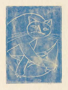 Franz Gertsch, Katze holt Mond vom Himmel, 1947, Farblinolschnitt, Druck in Blau, auf Japanpapier, 60 x 49 cm © Franz Gertsch