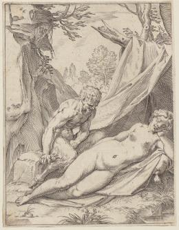 """Agostino Carracci, """"Ein Satyr betrachtet eine schlafende Nymphe"""", aus der Folge """"Lascivie"""", um 1585–1590, Kupferstich, 152 × 117 mm (Platte), 155 × 119 mm (Blatt), Graphische Sammlung ETH Zürich"""