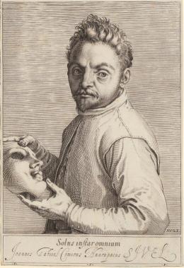 """Agostino Carracci, """"Porträt von Giovanni Gabrielli, genannt Il Sivello"""", um 1599, Kupferstich, 187 × 126 mm (Platte), 185 × 127 mm (Blatt), Sammlung ETH Zürich"""