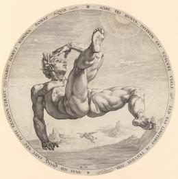 """Hendrick Goltzius, """"Ikarus"""", aus der Folge """"Die vier Himmelsstürmer, Nach Cornelis Cornelisz. van Haarlem, 1588, Kupferstich, Durchmesser 330 mm (Platte), 334 mm (Blatt), Graphische Sammlung ETH Zürich"""