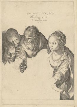 """Hendrick Goltzius, """"Anbetung der Hirten"""", um 1599, Kupferstich und Kaltnadel, 214 × 154 mm (Platte), 226 × 167 mm (Blatt), Graphische Sammlung ETH Zürich"""