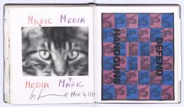 Les Levines: Magic Media – Media Magic, Widmung vom 4.3.1994, in: Wulf Herzogenrath-Gästebuch Nr. 15. © VG Bild-Kunst, Bonn 2019, und Wulf Herzogenrath, Akademie der Künste, Berlin
