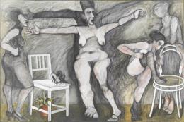 """Adolf Frohner, """"Die Kreuzigung"""", 1977, Graphit, geriebene Erde, Papiercollage und Tempera auf Leinwand Albertina, Wien. Sammlung Essl © Nachlass Adolf Frohner"""