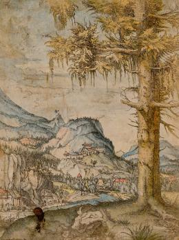 Albrecht Altdorfer, Die große Fichte, um 1517-1520, Radierung, aquarelliert © Albertina, Wien