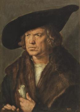 Bildnis eines bartlosen Mannes mit Barett, 1521, Öl auf Holz Madrid, Museo Nacional del Prado