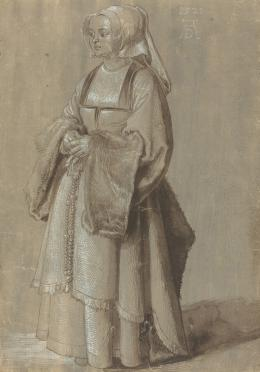 Junge Frau in niederländischer Tracht, 1521, Pinsel in Schwarz, Grau, weiß gehöht Washington, National Gallery of Art, Widener Collection © Courtesy National Gallery of Art, Washington