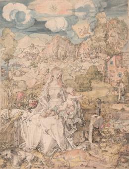 Maria mit den vielen Tieren, um 1503, Feder in Schwarzbraun, Aquarell © Albertina, Wien