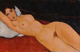 Amedeo Modigliani, Liegender Frauenakt auf weißem Kissen, ca. 1917, Staatsgalerie Stuttgart © bpk, Staatsgalerie Stuttgart