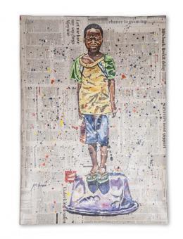 """Andrew Ntshabele """"Abundance III"""" 2019, Acryl auf Zeitungspapier, 100 x 70 cm, (c) Art South Africa, Kapstadt-ZA"""