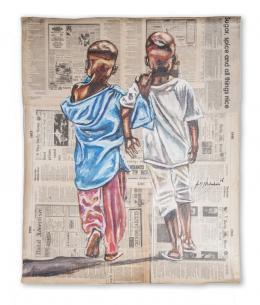 """Andrew Ntshabele """"All things work out for the good"""" 2019, Acryl auf Zeitungspapier, 76 x 61 cm, (c) Art South Africa, Kapstadt-ZA"""