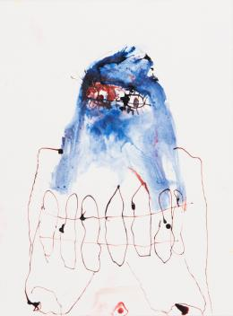 Andriu Deplazes, Körper, Gurt und blaues Tuch, 2018. Tusche auf Papier, 36 x 27 cm; Im Besitz des Künstlers. © 2019, Pro Litteris, Zurich