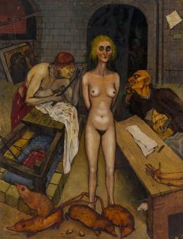 Arik Brauer, Der Rattenkönig, 1945, Öl auf Holz, 80 × 61 cm, Privatbesitz Familie Brauer  © Arik Brauer Kunstmeile Krems, © Christoph Fuchs, Wien