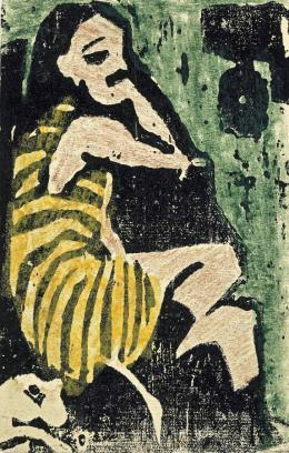 Ernst Ludwig Kirchner: Artistin, 1910. Farbholzschnitt, 14 x 9 cm; Sammlung Selinka, Kunstmuseum Ravensburg