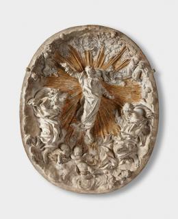 Gianlorenzo Bernini (1598-1680) Metamorphose Christi oder Verklärung am Berg Tabor Modell für ein Relief, 1657; Terracotta, Reste von Vergoldung