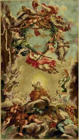 Nach Pietro da Cortona (1596-1669) Glorie des Hauses Barberini und Papst Urbans VIII. Wiederholung des Mittelteils des Deckenfreskos im Salone grande des Palazzo Barberini, Rom, nach 1632; Öl auf Leinwand