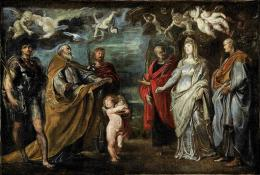 Peter Paul Rubens (1577-1640) Die Patrone der Oratorianer: Die hll. Maurus, Gregor d. Gr., Papianus, Nereus, Flavia Domitilla und Achilleus  Ölskizze für das Altarbild in Sta. Maria Valicella, Rom, 1608; Öl auf Leinwand