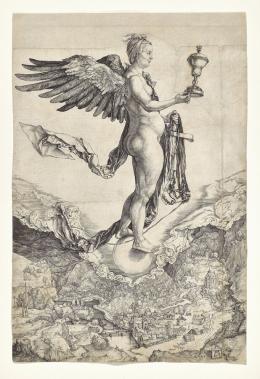Albrecht Dürer, Nemesis (Das große Glück), um 1501, Kupferstich, Dauerleihgabe Stift Stams © Tiroler Landesmuseen