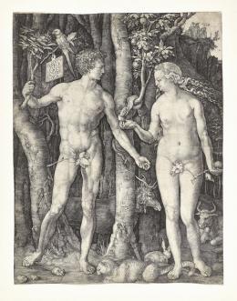 Albrecht Dürer, Adam und Eva, 1504, Kupferstich, Dauerleihgabe Stift Stams © Tiroler Landesmuseen