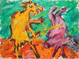 Otto Muehl, o.T. (Ziegenbock mit Frau), 1984, Öl auf Leinwand 150 x 200 cm © Foto: Wienerroither & Kohlbacher