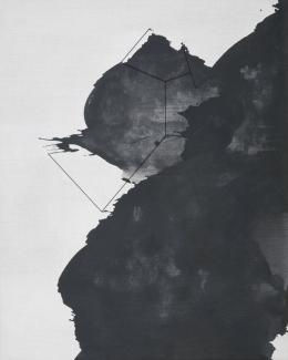 Alfredo Barsuglia, charge noir, 100x80 cm, Acryl/Wolle/Leinen, 2019