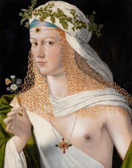 """Bartolomeo Veneto (?–1531), Idealbildnis einer jungen Dame als """"Flora"""", Um 1520 Pappelholz, 43,6 × 34,6 cm Städel Museum, Frankfurt am Main © Städel Museum, Frankfurt am Main"""